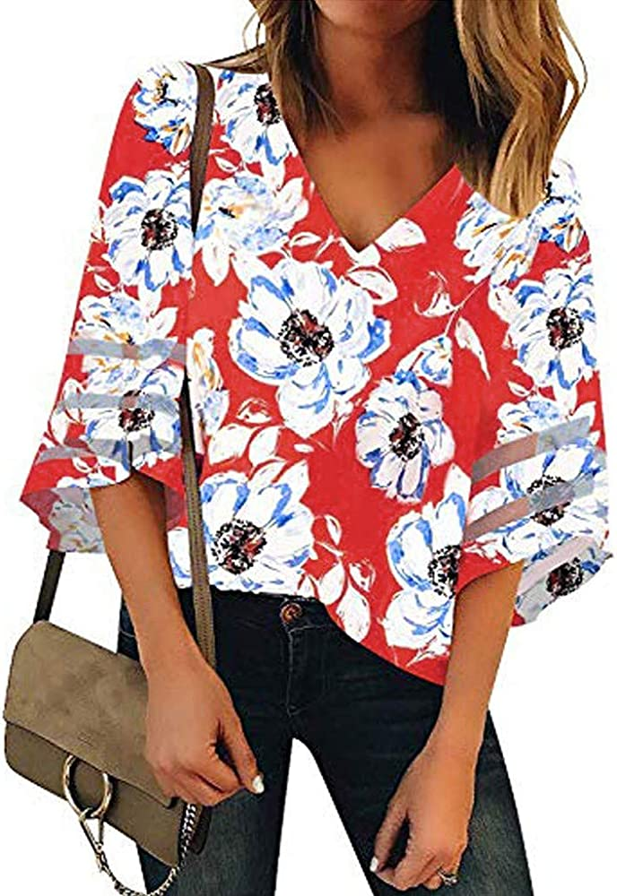 WARMWORD Mujer Tops Camisetas Dama Hermoso Estampado de Flores Cuello en V Panel de Malla Blusa Manga 3/4 Campana Camisa de Tops Elegantes Blusas para Mujer Tops Suelta Manga Larga Casual: Amazon.es: