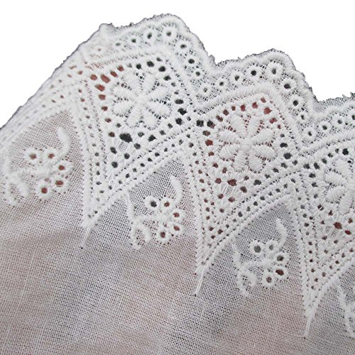 Sequin Trim Scallop (White Cotton Floral Eyelet Embroidered Lace Trim Fabric 4 Inch 10cm Wide By 5 Yards For Garment Skirt Extender Wedding Home Decor DIY Craft Supply)