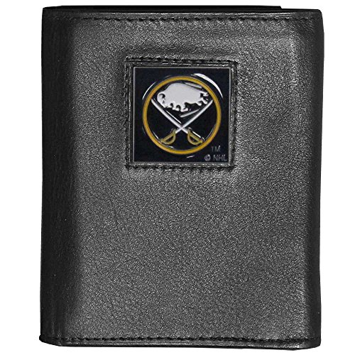 Buffalo Sabres Black Leather - NHL Buffalo Sabres Deluxe Leather Tri-Fold Wallet Packaged in Gift Box, Black