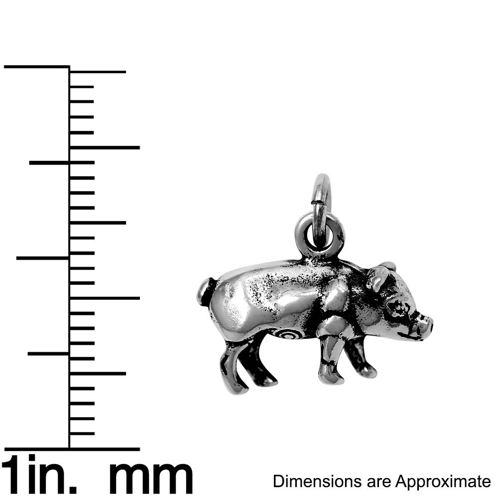 Raposa Elegance Sterling Silver Pig Charm Pendant on a Sterling Silver Carded Box Chain Necklace 18
