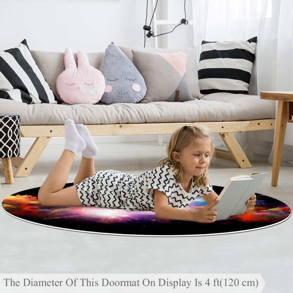 Roman Chart H05 Small Shag Soft Round Area Rugs Outdoor Circle Rugs for Boy and Girl Castle Playmat for Kids Bedroom Baby Room Best Gift for Your Children 4 ft