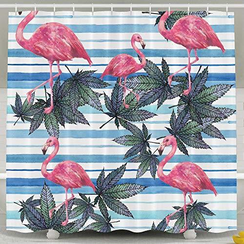 Huangwei Flamingo Weed Leaves Stripes Shower Curtain for sale  Delivered anywhere in USA