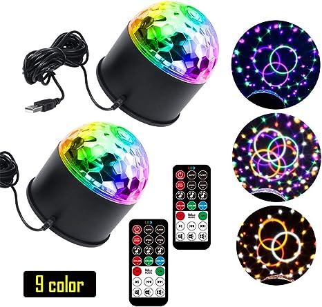 2 Pack Iluminación De Escenarios Disco Lights USB De Carga Portátil Mini Stage Lights Ball con Control Remoto Disponible para Fiestas DJ Clubs Karaoke Wedding Show Cumpleaños: Amazon.es: Deportes y aire libre