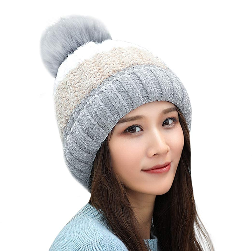 Huise(m8845) HUAMULAN Women Skull Beanie Hat Cap Rabbit Hair Winter Fleeced Ski Dual Layered Pompop