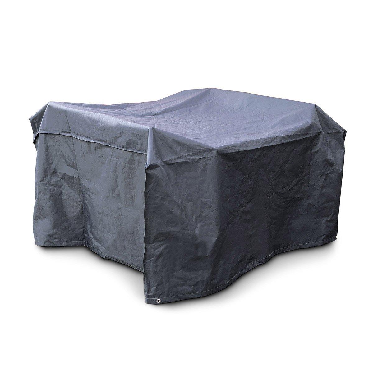 Relaxdays Schutzhülle Sitzgruppe, reißfeste Abdeckplane, Wetterschutz, Kunststoff, H x B x T: 70 x 160 x 200 cm, grau reißfeste Abdeckplane 10019003