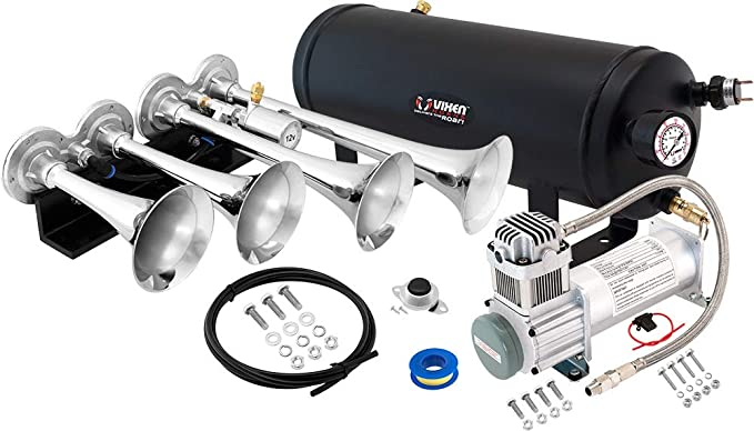 Super Loud dB 1.5 Gallon Tank Complete Onboard System- 200psi Air Compressor 4 Trumpets Vixen Horns Train Horn Kit for Trucks//Car//Semi Fits Vehicles Like Pickup//Jeep//RV//SUV 12v VXO8315//4124C
