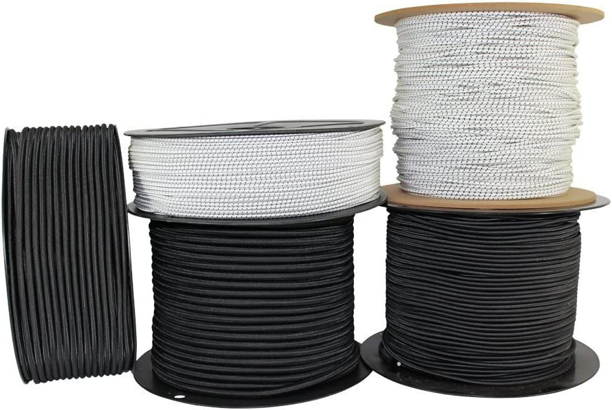 Gear Bundles for Bungee Straps - SGT KNOTS Crafting Projects Affordable Elastic Shock Rope Bungee Cord ReadyGear Shock Cord Cargo Nets 1//8 inch Hammocks 100 ft - Black