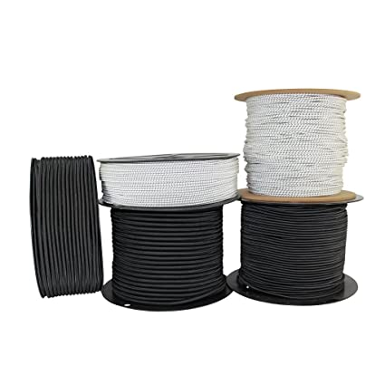 1//2″ 250 ft Bungee Shock Cord White With Black Tracer  Marine Grade Heavy Duty