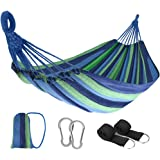 JBM Double Hammock 2 Person Canvas Cotton Portable Hammock with Carrying Bag Nylon Ropes & Steel Carabiners Outdoor…