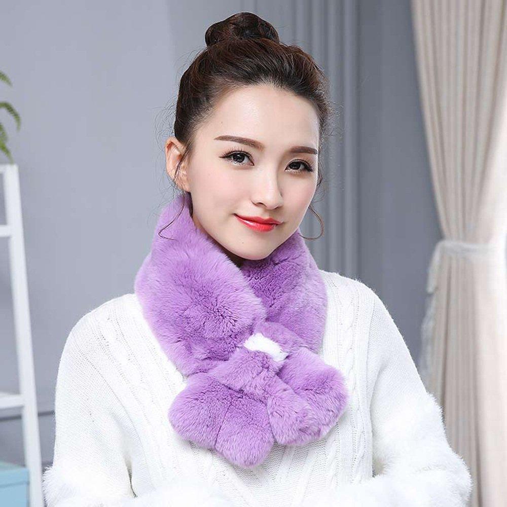 Bufanda HAIZHEN Elegante de moda chal gruesa femenina del invierno Calentadores del cuello del estudiante Otoño e invierno Mantenga caliente multicolor opcional Suave y cálido (Color : Purple)