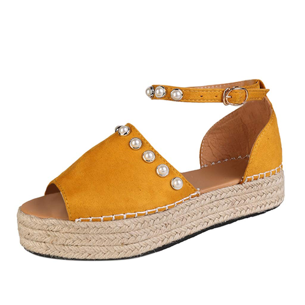 SSYongxia❤ Women's Open Toe Ankle Strap Espadrille Sandal Buckle Faux Leather Studded Wedge Summer Sandals Yellow