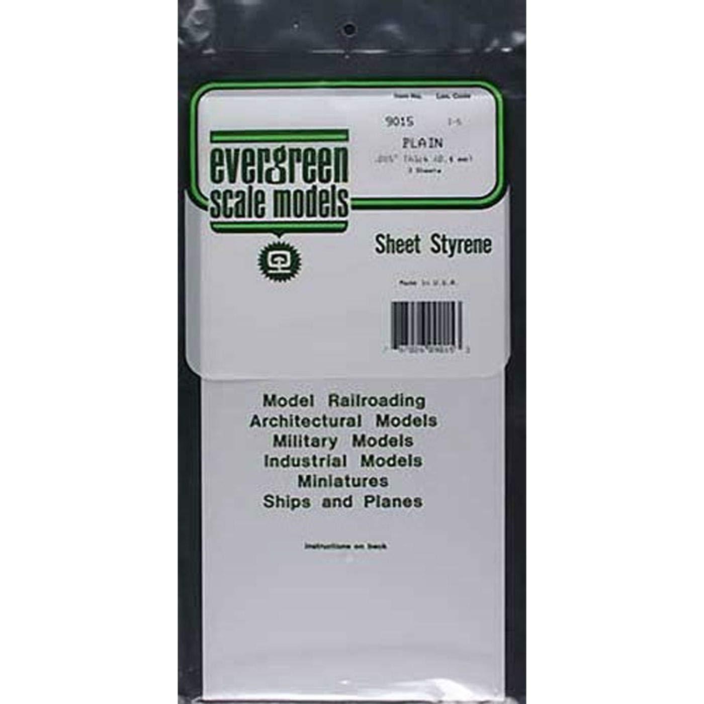 Evergreen 9015 Weiße Polystyrolplatte, 150x300x0,38 mm, 3 Stück International Hobbycraft Co. Inc
