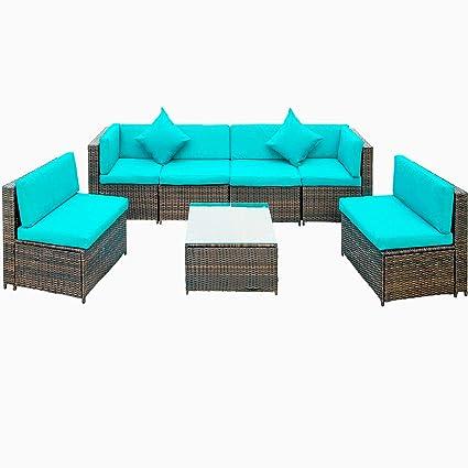 Amazon Com 7 Piece Patio Furniture Set Julyfox Indoor Outdoor
