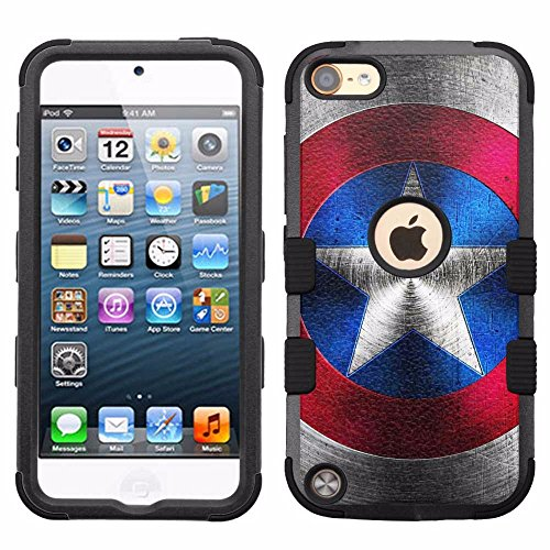 for iPod Touch 5/6, Hard+Rubber Dual Layer Hybrid Heavy-Duty Rugged Armor Cover Case - Captain America #S