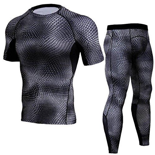 骨の折れる脆いためらうメンズコンプレッションウェア上下セット サイクルウェア 上下 夏用スポーツウェア うろこ柄 半袖?ロングパンツ