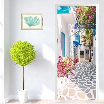 WXLZY Sticker Porte Style Grec 3D Autocollant de Porte pour D/écoration Mur Salon Cuisine Chambre Salle de Bain Papier Peint 77X200cm
