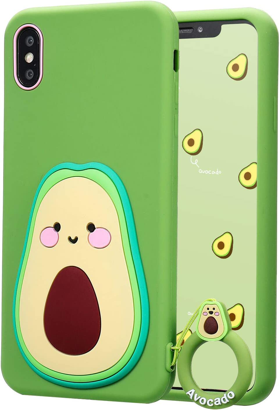 Coralogo for iPhone X/XS Case,3D Cute Cartoon Funny Food Fruit, Soft Silicone Character Designer Shockproof Kawaii Fashion Fun Cool Cover Cases for Girls Boys Teens Kids iPhone X/XS 5.8