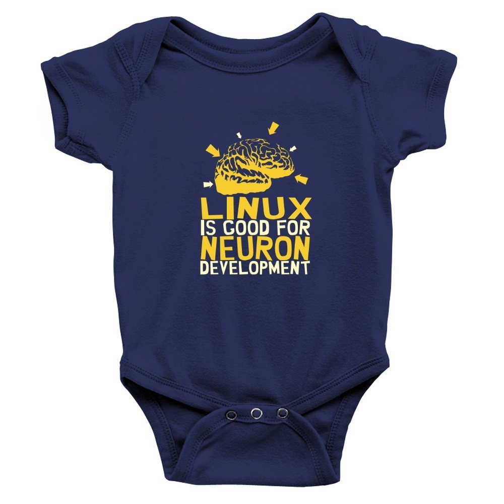 Teeburon Linux is good for neuron development Baby Bodysuit TEE00648694F5A6611400