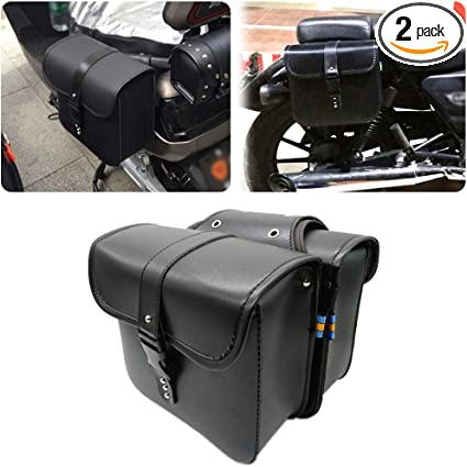 A Pair Motorcycle Saddle Bag Bike Side Storage Fork Tool Pouch For Harley Honda