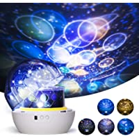 Night Light for Kids, One Fire Universe Projection Lamp, Decorative Projector 360 Rotating Colorful Romantic Star Sea Planet Projector Lamp for bedroom Nursery Birthday Christmas Gift - 5 Sets of Film