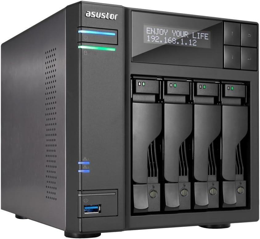 Servidor NAS ASUSTOR AS7004T-I5 4 BAHIAS Intel I5 3GHZ 8GB HDMI 2.0 SPDIF 2XGBE PCIE 2XESATA Raid 0,1 JBOD SATA 6GB USB 3.0 Panel LCD: Amazon.es: Informática