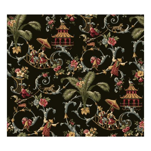 Classic Wallpaper - York Wallcoverings Waverly Classics Mandarin Prose Removable Wallpaper, Black/Gray/Crimson/Caramel/Cream/Sage