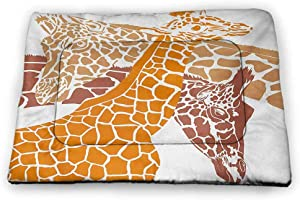 DayDayFun Giraffe Cat Mat Antelope and Giraffe on Green Meadow Zoo Animals in Tropic Atmosphere Pet Mats for Food and Water White Blue Brown