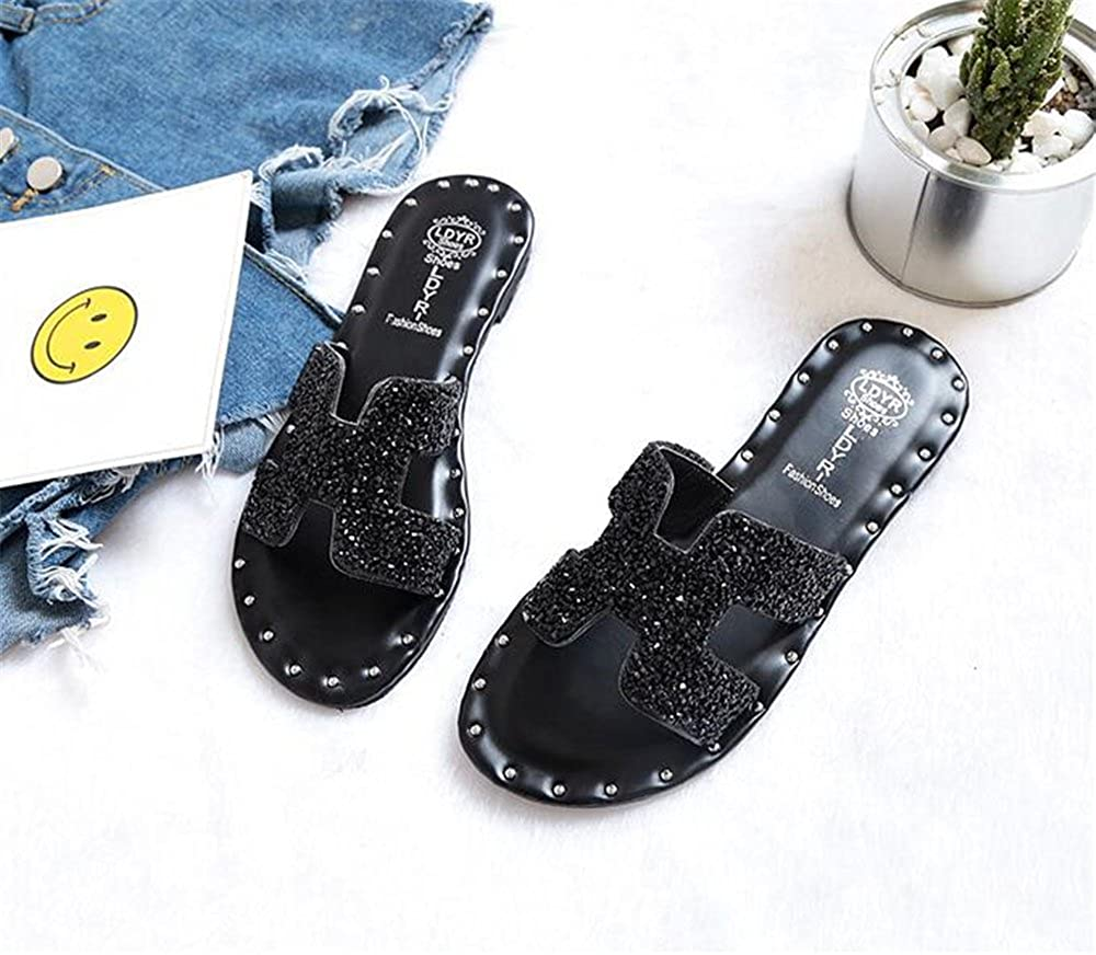 b9262ad73e733 Amazon.com  MODEOK H Word Flat Shoes Popular Women s Shoes Rhinestone Beach  Shoes Slippers  Shoes