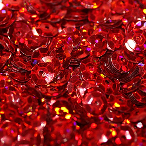 5mm CUP SEQUINS RED HOLOGRAM Loose sequins for embroidery, applique, arts, crafts, and embellishment. ()