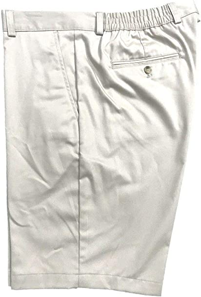 Izod Men/'s Saltwater Classic-Fit Flat-Front Shorts Washed Twill Khaki All Sizes