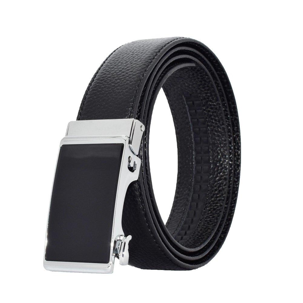 Mens Leather Belt Automatic Buckle Casual Style Ratchet Belt for Men (black, 110cm)