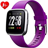 H4 Fitness Health 2in1 Smart Watch for Men Women Smartwatch with All-Day Heart Rate / Blood Pressure / Sleep Monitor IP67 Waterproof Sports Activitity Tracker Bluetooth Watch (Violet)