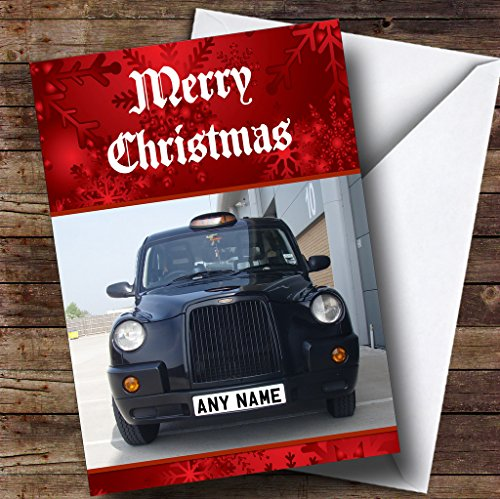 Black Taxi Cab Personalized Christmas Holiday Greetings Card
