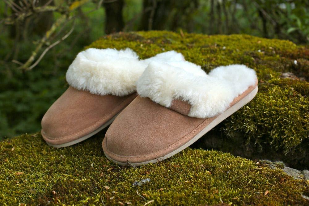 Malibu Damen Pantoffeln Fell Schuhe Hollert Leather Lammfell Hausschuhe
