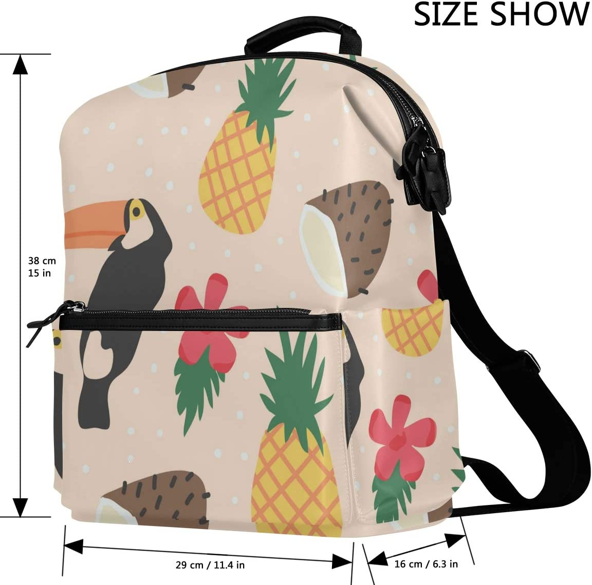Business College School Adjustable Straps for Unisex Adult Travel Backpack Laptop Bag Tropical Fresh Pattern with Bird and Fruit Fits for Computer Notebook Tablet Under 14 inch