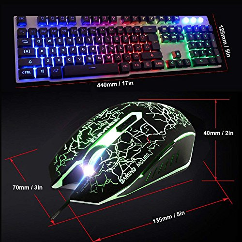 6c3e47b1434 Keyboard & Mouse Combos LexonElec Wired Keyboard Mouse Combo Gamer ...