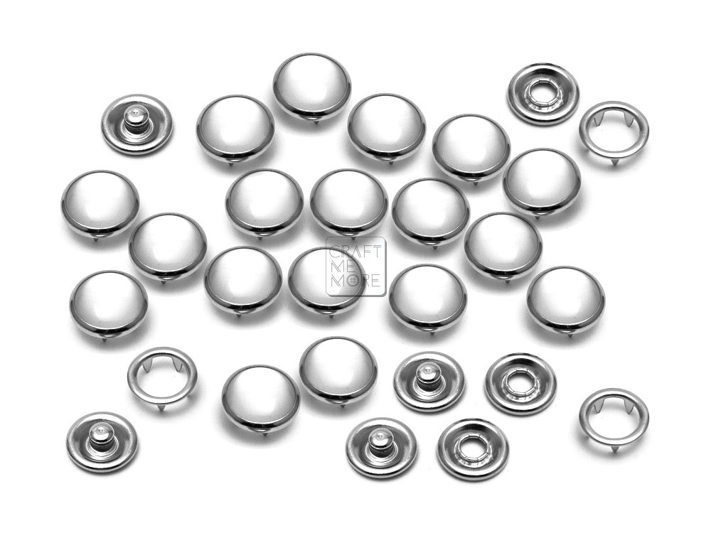 CRAFTMEmore 20 Sets 10.5MM Cloudy White Pearl Snaps Fasteners for Western Shirt Clothes Popper Studs (Cloudy White)