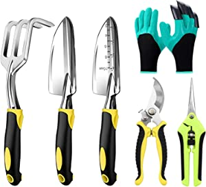 Garden Tool Set - Gardening Hand Tools Kit, 6 Piece Heavy Duty Cast Aluminum with Soft Rubberized Non-Slip Handle Gardening Tools Garden Gifts for Men Women