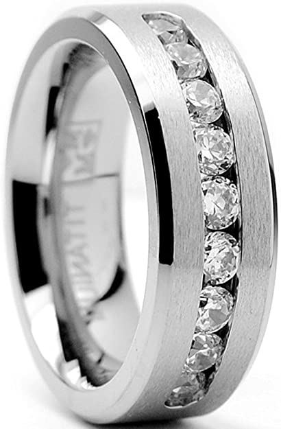 Stainless Steel Brushed w//Silver Double Twist Inlay Ring Size 12.5 Length Width 8.2