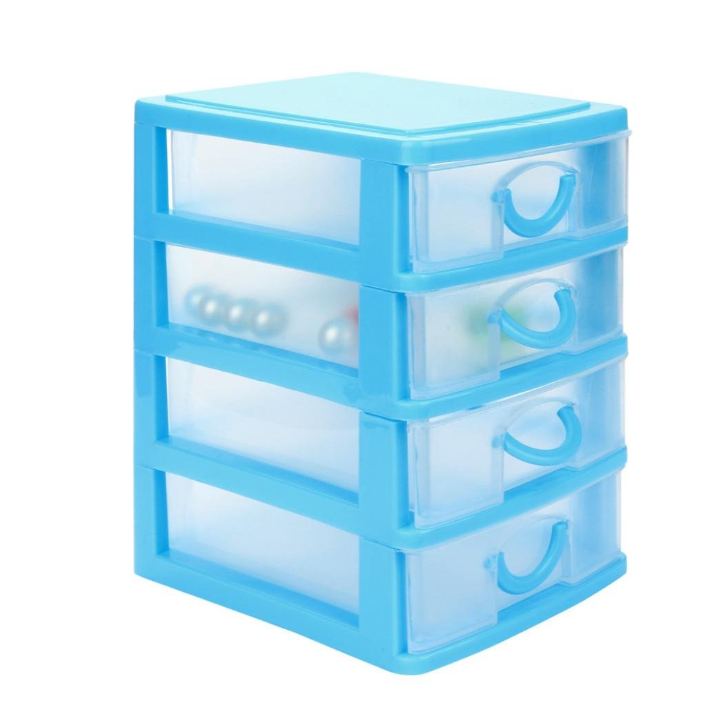 AmyDong Storage Box Drawer Case, Clearance!Durable Plastic Mini Desktop Drawer Sundries Case Small Objects (M, Blue)