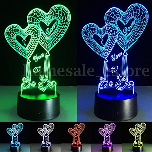 Phantomx 7 Color Change 3D illusion Love Heart Touch Switch Table Lamp LED Night Light (Casting Master Ocean)