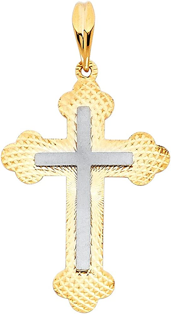 GoldenMine Fine Jewelry Collection 14k Two Tone Gold Religious Cross Pendant
