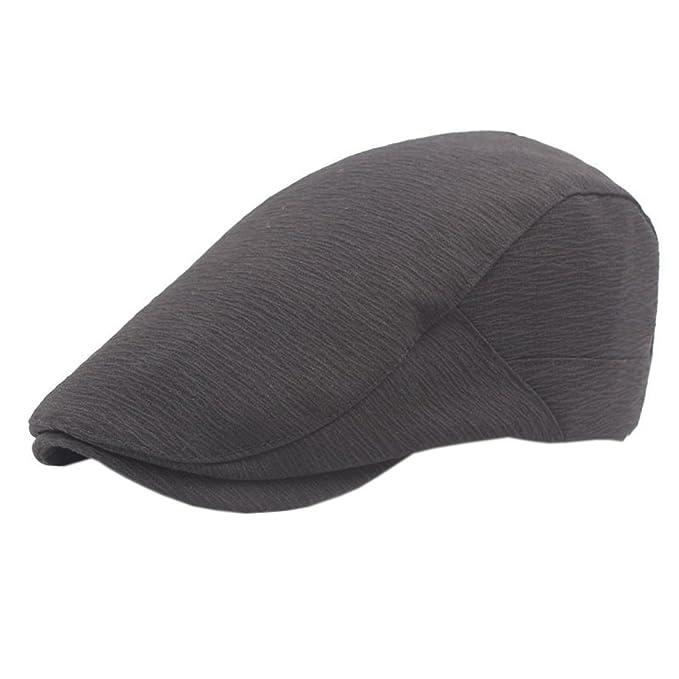XueXian(TM) Mens Vintage Newsboy Short Brim Irish Flat Solid Hat (Black) 2c2a2db25a8