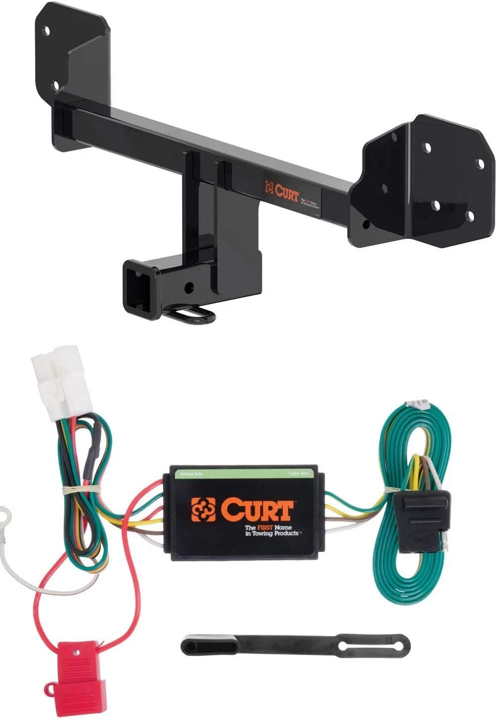 Curt 13410 56040 Class 3 Trailer Hitch 2-Inch Receiver with 4-Way Flat Custom Wiring Harness Bundle