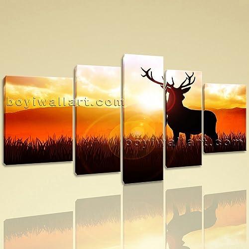 Amazon.com: Extra Large Deer Silhouette Animal Contemporary On ...