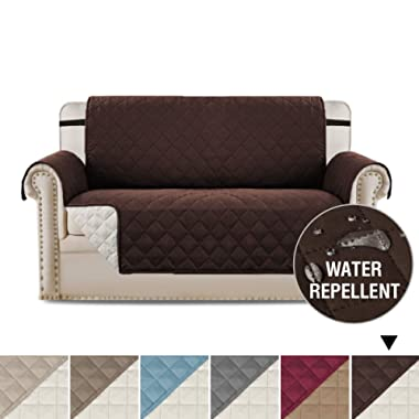 Water Repellent Reversible Loveseat Covers for Dogs, Couch Covers for Dog, Sofa Cover Sofa Slipcover Sofa Protector for Pets, Machine Washable Furniture Cover with 2  Straps (Brown/Beige)