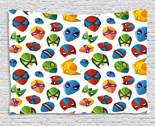 Superhero Tapestry by Ambesonne, Legendary Cartoon Character Masks Flash Batman Spider-Man Comic Costume Print, Wall Hanging for Bedroom Living Room Dorm, 60 W X 40 L Inches, Multicolor