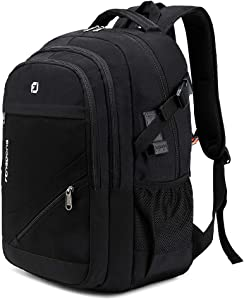 FENGDONG Durable Waterproof Travel Laptop Backpack 17.3 inch,Large College Backpack Bookbag for Men & Women Business Backpack with USB Charging Port and Headset Port Black