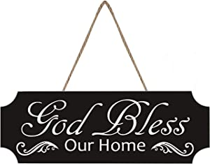 LOUISF God Bless Our Home, Decoraive Hanging Plaque Sign - 4x12 Inch