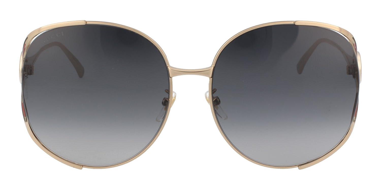 ec72e0aa20b Amazon.com  Gucci GG0225S 001 Gold GG0225S Round Sunglasses Lens Category 3  Size 63mm  Clothing